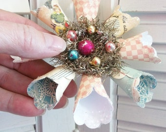 Vintage Victorian Style Pink Blue Star Snowflake Paper Wreath Christmas Ornament Mercury Glass Beads