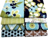 Modern Patchwork Baby Blanket Crib Blanket  - Eclectic made with the Modern Meadow Collection in Cool Stream by Joel Dewberry - flannel back