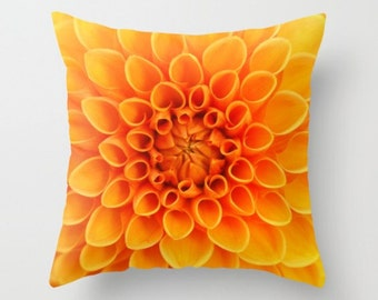 Orange Dahlia Flower Pillow Cover Natural History Sweet Garden Gift Flower Print Orange Flower Botany