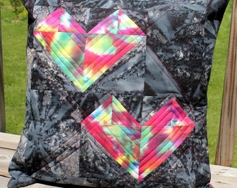 Quilted Patchwork Double Heart Pillow - Women's Heart Health Awareness - 16""