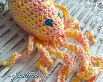 Yellow Pink Sherbert Crochet Octopus Keychain Zipper pull Purse hook