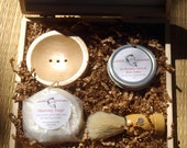 Mens Shaving Set in Wooden Gift Box - Groomsman Gift, Fathers Day, Gift for Man, Graduation