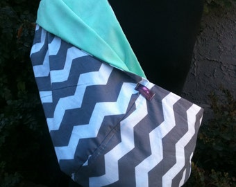 Baby Sling  Baby Carrier - Gray Chevron with Mint  Lining   Second Item Ships Free