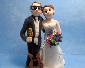 Music Lovers Wedding Cake Topper,Custom wedding cake topper, Bride and groom cake topper, personalized cake topper, Mr and Mrs cake topper