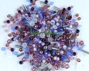 30g Toho Japanese Glass Seed Beads #3216 - Kimono- Lilac Mix