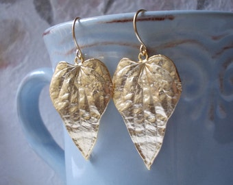 Gold Leaf earrings, gold plated leaves drop dangle earrings inspired by nature charm large big bold women woman girl modern elegant stylish