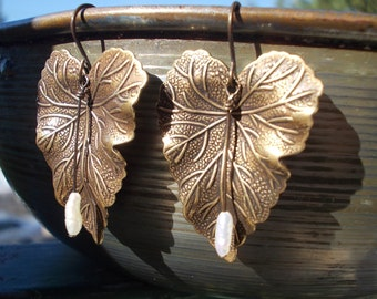 Brass and Pearl Leaf earrings oxidized bronze leaves pearls handmade earrings nature inspired jewelry for women mother's day gift jewellery
