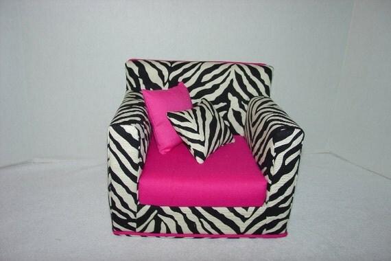 18 Inch Doll Armchair - Zebra Print- Hot Pink - Modern Style