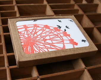 letterpress ferris wheel and blackbirds boxed set of 6 cards