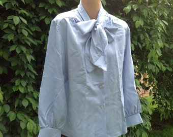 Vintage Lady Arrow Womens SIze 14 Blue Long Sleeve Blouse with Attached Tie