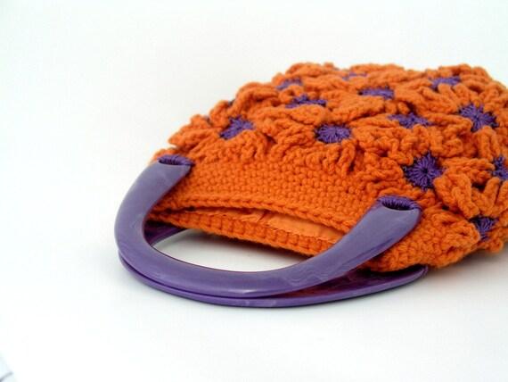 Small crochet bag, orange tangerine, purple, daisy flower patterned, texture, purple resin handle, square, nature inspired, boho, funky