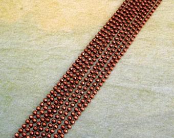 Copper Ball Chain, 1.5 mm, Diamond Cut, 6 Ft., AC146