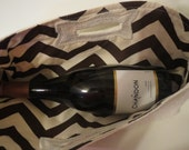 Not Your Usual Wine tote Personalized Burlap with Chevron fabric