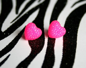 Hot Pink Earrings, Heart Resin Studs, Neon Kawaii Glitter Jewelry