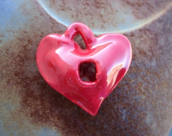 Hollow Heart Shape with hole Stoneware Pendant