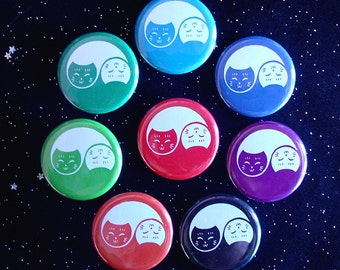 """Yin Yang Cats 1.25"""" Magnets or Pinback Buttons - Set of 8"""