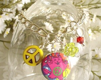 Colorful Groovy Flower Power Peace Cat in Hot Pink Charm Drop or Starter Charm Bracelet