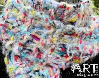 Gypsy Hippie Multi Color Tweed Knit Scarf