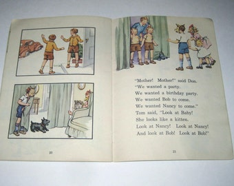 The Twins Tom and Don Vintage 1940s School Reader or Text Book with Scottie Dog