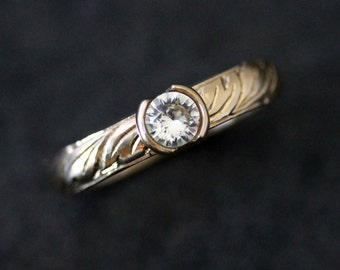 Hand Engraved 14k Yellow Gold and Half Bezel White Sapphire, Eco Friendly Recycled Gold Jewelry