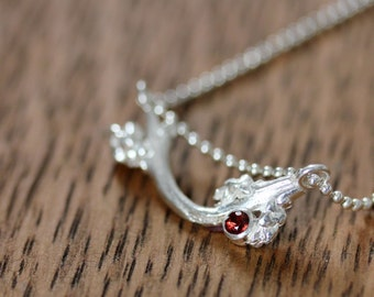 January Garnet and Sterling Branch Necklace , 16 Inch Pendant, Ready To Ship
