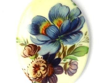 Vintage Floral Cameo Cabochon Plastic 40x30mm - Blue (1) VIC298