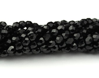 Czech Glass Beads Fire Polished Faceted Rounds 3mm Jet (50) CZF666