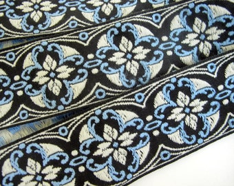 2 yards MORESQUE, Jacquard strap. Light blue, white on black. 2 inch wide. 961-A