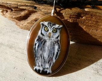 Owl - fused glass pendant