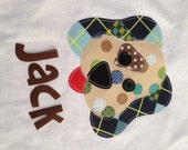 Adorable Personalized Plaid Puppy Dog Shirt in Long or Short Sleeve