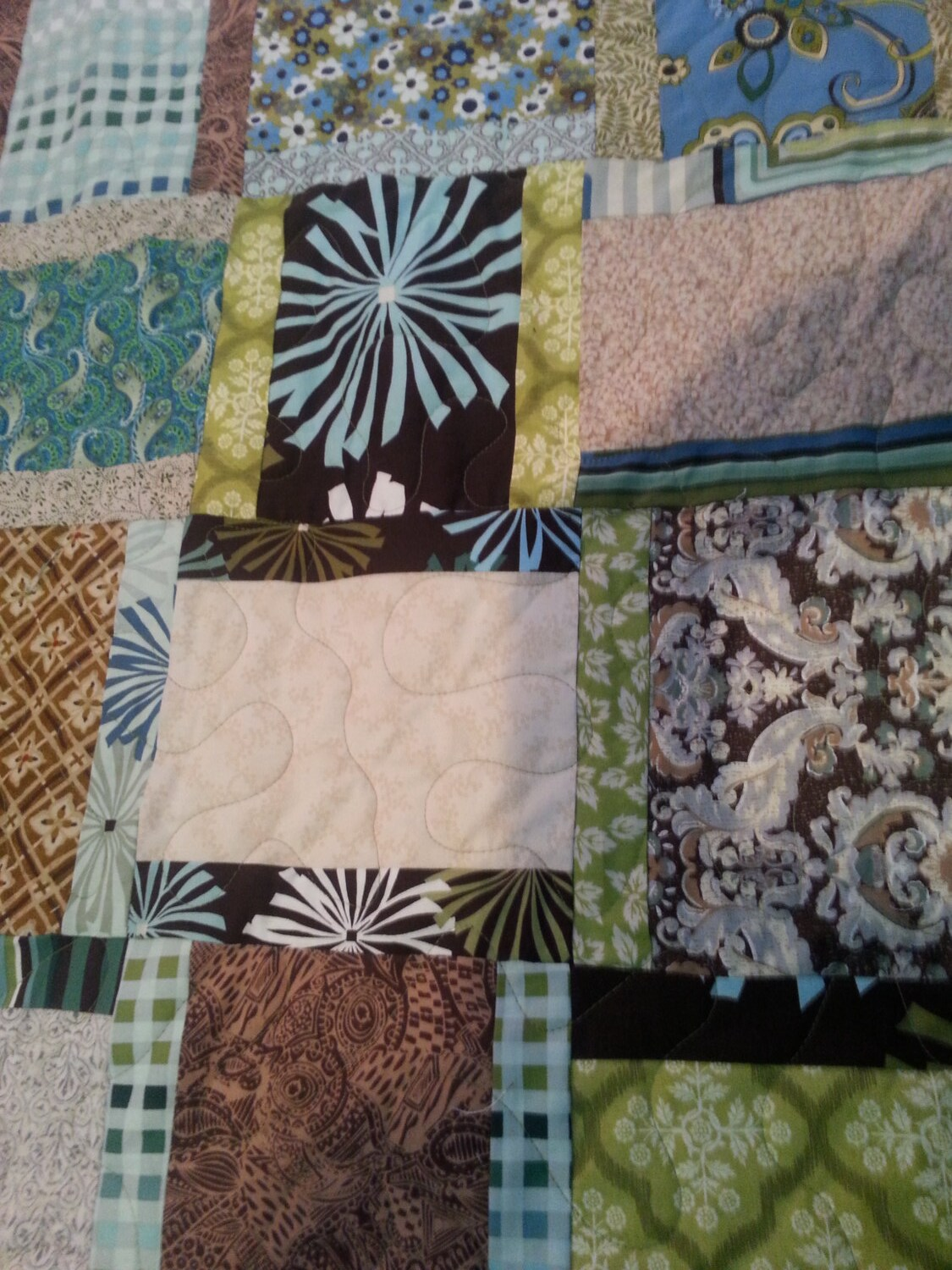 king size blue green brown and tan quilt by 4quiltsandmore. Black Bedroom Furniture Sets. Home Design Ideas