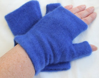 Bright Blue Upcycled Cashmere Fingerless Gloves
