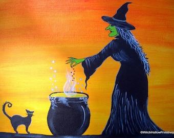 Original ooak halloween folk art painting ryta black cat witch jol ...
