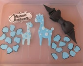 Blue Safari Baby Shower Fondant Cake Toppers - Complete Set Fondant Cake Decorations