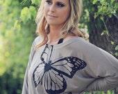 slouchy tshirt. slouchy sweatshirt.  graphic tees for women. butterfly shirt. s, m, l, xl, xxl  - Flutterby Dolman Sleeve Tee in Mocha