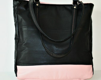 ON SALE Recycled Black and Pink Leather Color Blocked Tote Handbag