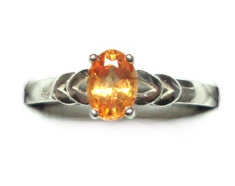 Spessartite garnet sterling silver ring