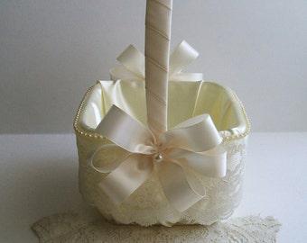 Flower Girl Basket Square Wedding  Handmade EVERLASTING Flowergirl White OR IVORY