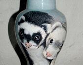 small CUSTOM burial Pet Urn for 2 ferrets, 2 portraits on urn