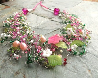 Botanical Garden Floral Wire Crochet Necklace by Tammy Leverich for Gaijin Geisha Jewelry