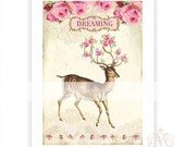 Deer print, dreaming, pink roses, woodland, lace, vintage style, antlers, collage art print,