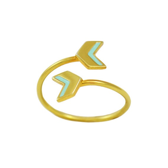 Double Arrow Mint Enamel and Gold Ring // Fun, Adjustable, Modern Chevron Gold Wrap Around Ring makes a Great Little Birthday Gift