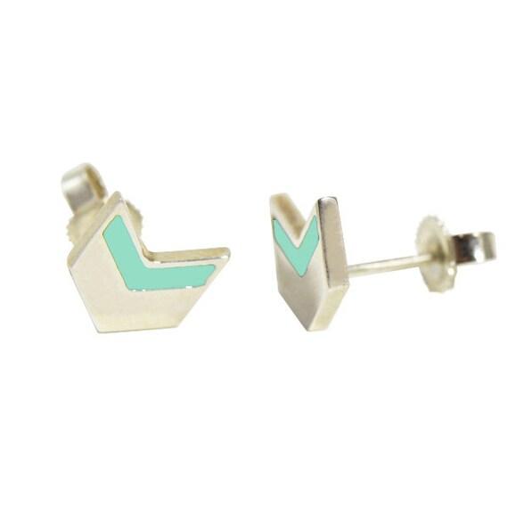Mini Mint Chevron Earrings in Sterling Silver // Geometric, Modern, Mint and Silver Arrow Studs