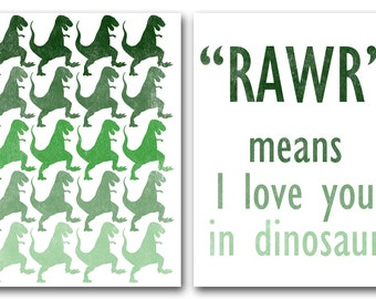 Popular Items For Rawr Mean I Love You On Etsy