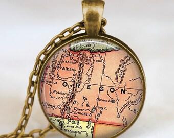 Oregon map necklace, Oregon map pendant, Oregon state map jewelry , state map pendant jewelry  with gift bag