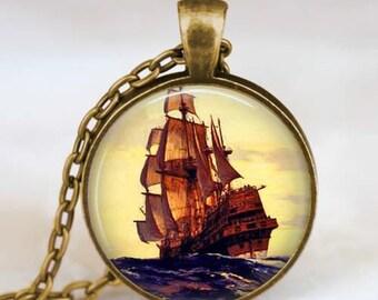 Sailboat pendant , Pirate Ship jewelry, Ship necklace , Nautical ship pendant , Sailboat jewelry