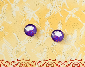 Sale - 10pcs handmade cloud colorful raining round clear glass dome cabochons 12mm (12-9981)