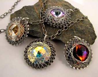 Sterling Silver Spiro Crystal Wire Wrapped Pendant Necklace