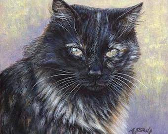 Akiko ORIGINAL 8x8 Calico Tortoiseshell Torty Cat painting