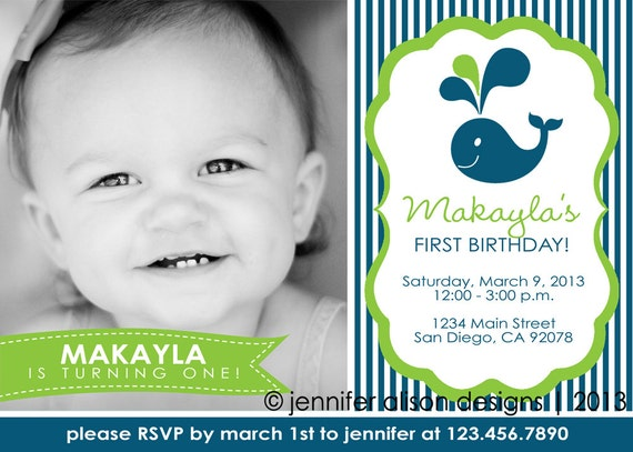 Whale Themed Party Printable Photo Invitation PERSONALIZED / Birthday Party / Baby Shower / BBQ